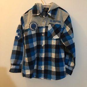 US Polo ASSN BOYS Hooded Flannel Shirt 5/6